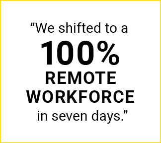 "Graphic that says: ""We shifted to a 100% remote workforce in seven days."""