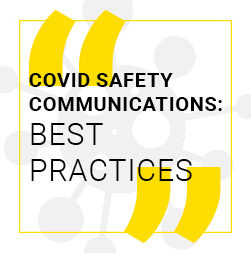 """Germ graphics with the text """"Covid Safety Communications: Best Practices"""""""