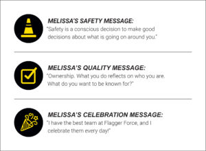 Melissa Stark's safety, quality, and celebration messages