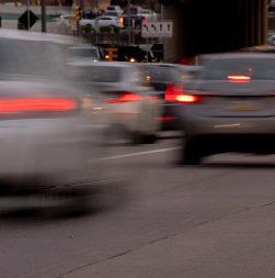 Cars blurred in traffic