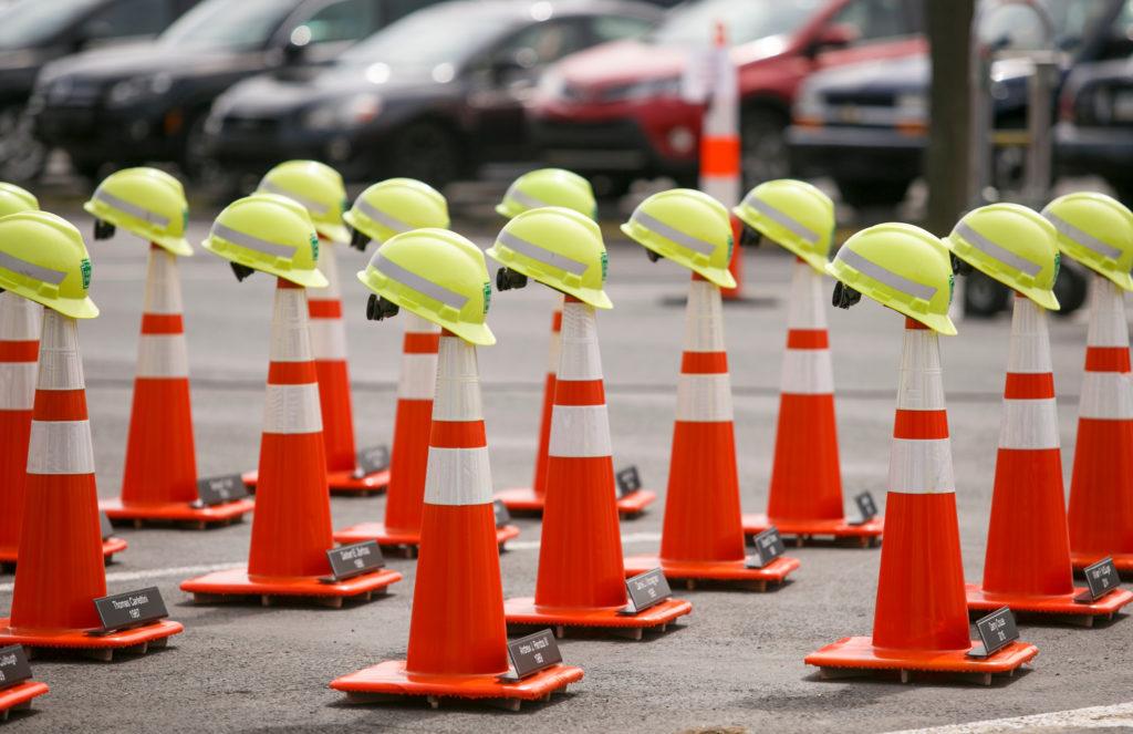 Hard hats on cones