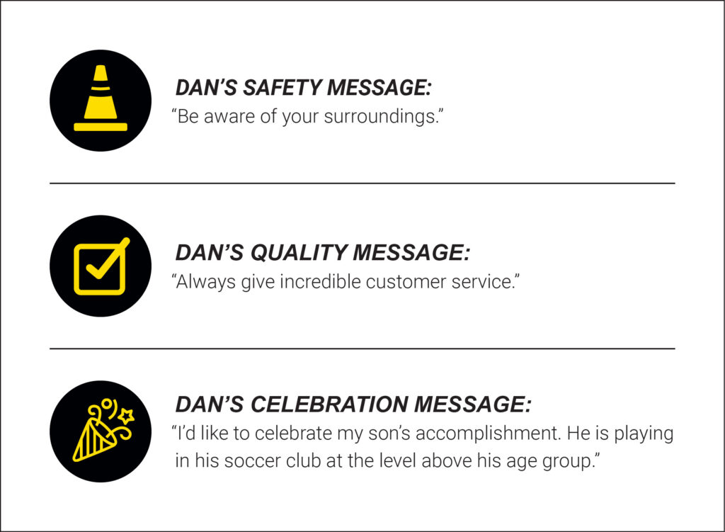 Dan Jolly's Safety, Quality, and Celebration messages