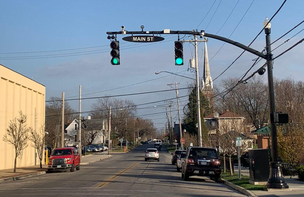 traffic light cameras on Main Street in Marysville, Ohio